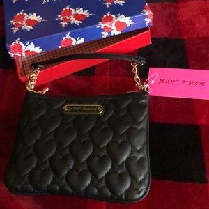 Betsey Johnson Heart Zippered Mini Bag NWT